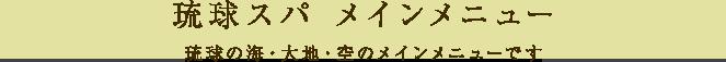 琉球スパ メインメニュー 琉球の海・大地・空のメインメニューです