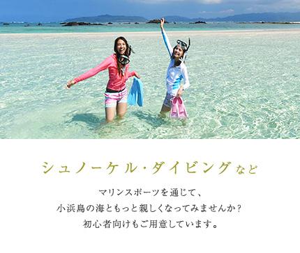 シュノーケル・ダイビングなど マリンスポーツを通じて、小浜島の海ともっと親しくなってみませんか?初心者向けもご用意しています。