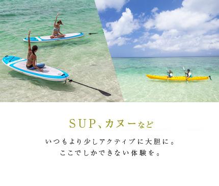 ウインドサーフィン、SUP、カヌーなど いつもより少しアクティブに大胆に。ここでしかできない体験を。