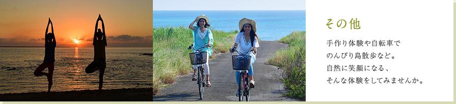 その他 手作り体験や自転車でのんびり島散歩など。自然に笑顔になる、そんな体験をしてみませんか。